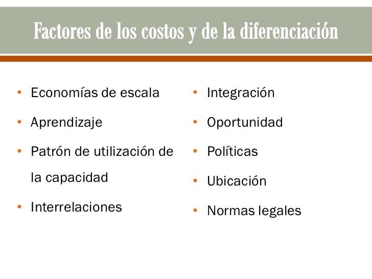 • Economías de escala        • Integración• Aprendizaje                • Oportunidad• Patrón de utilización de   • Polític...