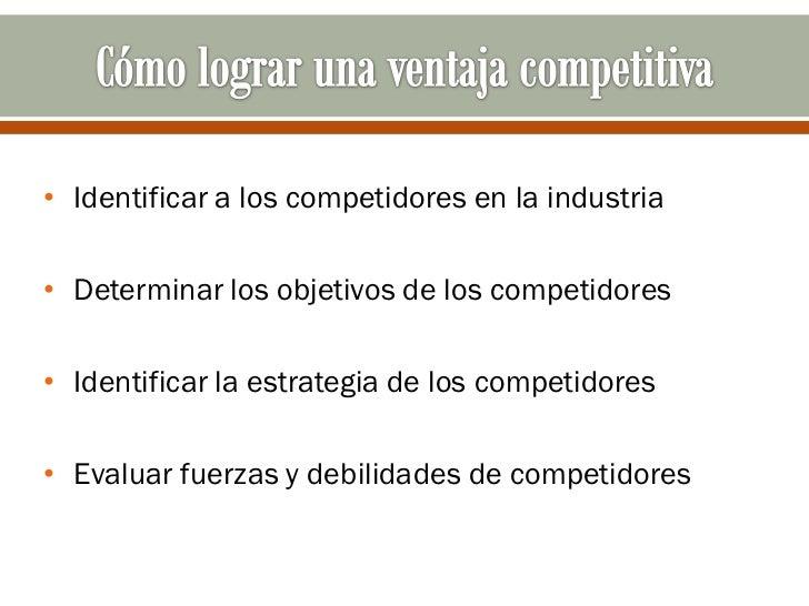 • Identificar a los competidores en la industria• Determinar los objetivos de los competidores• Identificar la estrategia ...