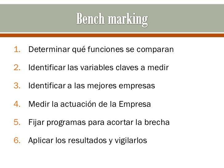 1. Determinar qué funciones se comparan2. Identificar las variables claves a medir3. Identificar a las mejores empresas4. ...