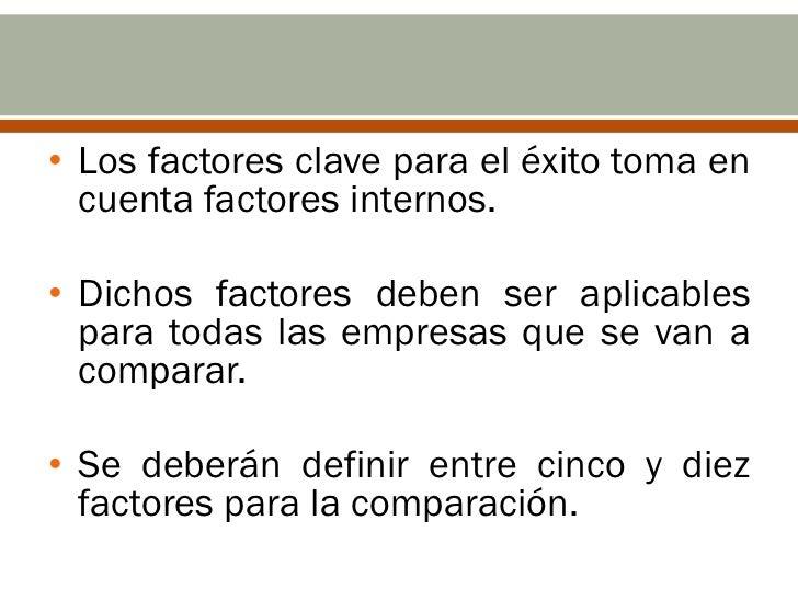 • Los factores clave para el éxito toma en  cuenta factores internos.• Dichos factores deben ser aplicables  para todas la...