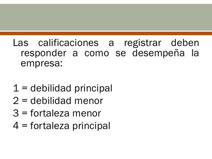 Las calificaciones a registrar deben  responder a como se desempeña la  empresa:1 = debilidad principal2 = debilidad menor...