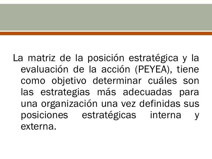 La matriz de la posición estratégica y la  evaluación de la acción (PEYEA), tiene  como objetivo determinar cuáles son  la...