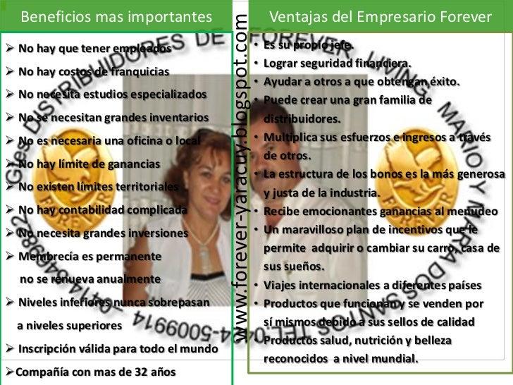 Beneficios mas importantes                                                     Ventajas del Empresario Forever            ...