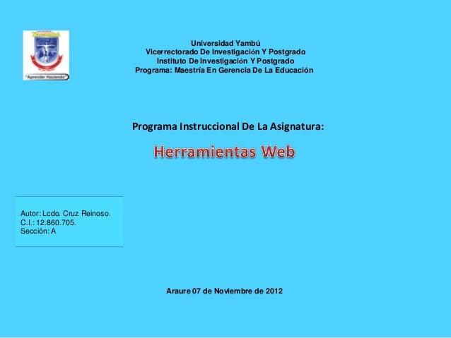 Universidad Yambú                                Vicerrectorado De Investigación Y Postgrado                              ...