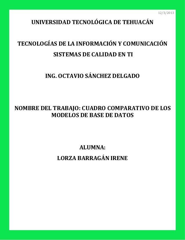 12/3/2013    UNIVERSIDAD TECNOLÓGICA DE TEHUACÁNTECNOLOGÍAS DE LA INFORMACIÓN Y COMUNICACIÓN           SISTEMAS DE CALIDAD...