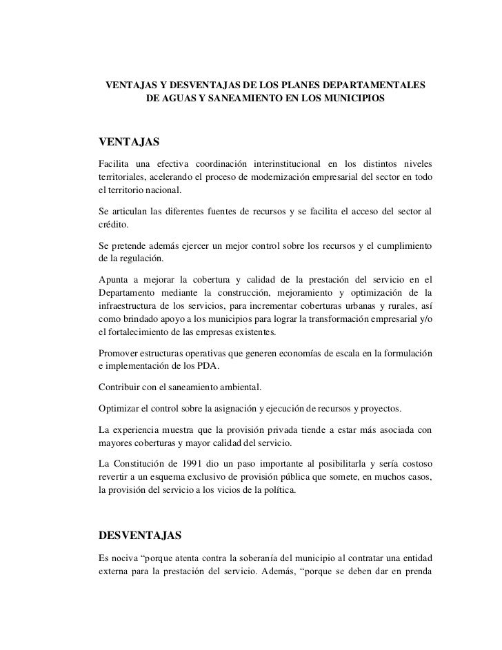 VENTAJAS Y DESVENTAJAS DE LOS PLANES DEPARTAMENTALES       DE AGUAS Y SANEAMIENTO EN LOS MUNICIPIOSVENTAJASFacilita una ef...