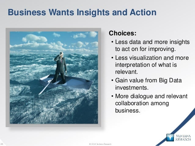 © 2014 Ventana Research23 © 2014 Ventana Research23 Business Wants Insights and Action Choices: • Less data and more insig...