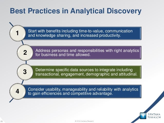 © 2014 Ventana Research29 © 2014 Ventana Research29 Best Practices in Analytical Discovery Start with benefits including t...