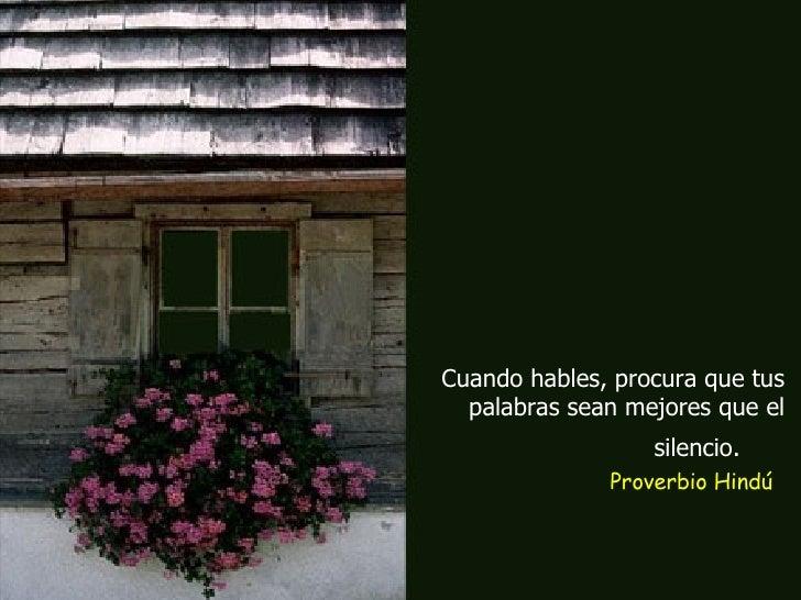 Cuando hables, procura que tus palabras sean mejores que el silencio.   Proverbio Hindú