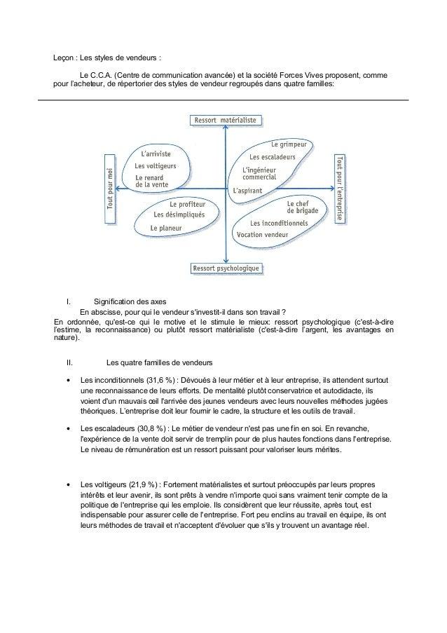 Leçon : Les styles de vendeurs : Le C.C.A. (Centre de communication avancée) et la société Forces Vives proposent, comme p...