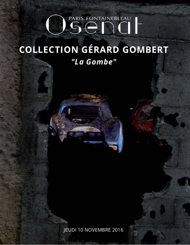 "JEUDI 10 NOVEMBRE 2016 COLLECTION GÉRARD GOMBERT ""La Gombe"""