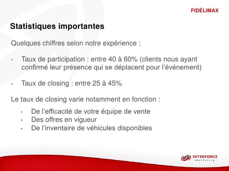 FIDÉLIMAXStatistiques importantesQuelques chiffres selon notre expérience :•   Taux de participation : entre 40 à 60% (cli...