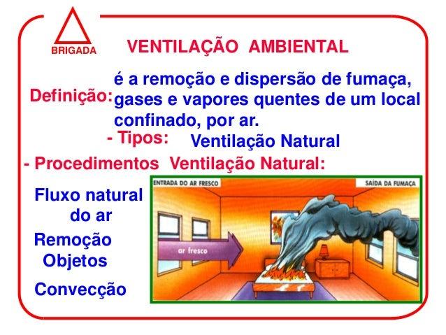 BRIGADA   VENTILAÇÃO AMBIENTAL            é a remoção e dispersão de fumaça, Definição: gases e vapores quentes de um loca...