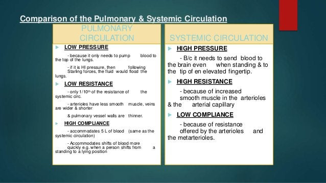 Pulmonary Circulation  P. circulation contain 10% of total blood volume but can easily altered as much as 50% which is se...