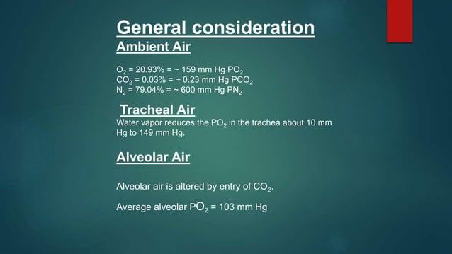 Gas Exchange External Respiration alveolus pulmonary capillary arteriole end venule end PO2 = 40 mm Hg PCO2 = 46 mm Hg PO2...
