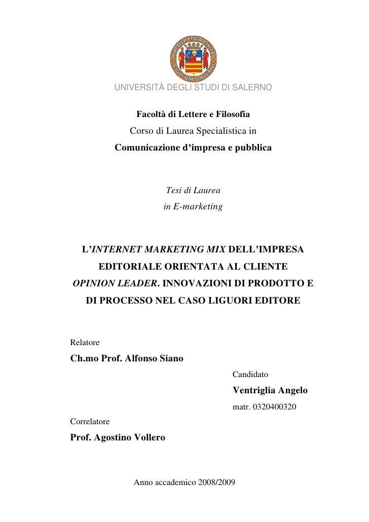UNIVERSITÀ DEGLI STUDI DI SALERNO                     Facoltà di Lettere e Filosofia                  Corso di Laurea Spec...