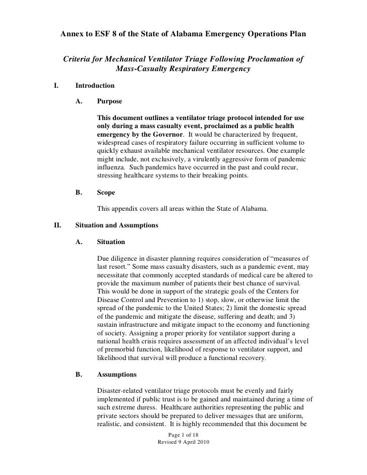 Annex to ESF 8 of the State of Alabama Emergency Operations Plan      Criteria for Mechanical Ventilator Triage Following ...