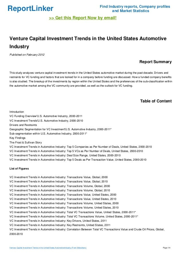 Automotive Industry In The United States: Venture Capital Investment Trends In The United States