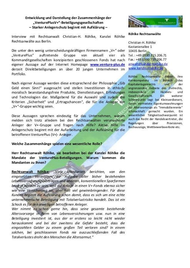 """Entwicklung und Darstellung der Zusammenhänge der """"VenturePlusV+""""-Beteiligungsgesellschaften – Starker Anlegerschutz begin..."""