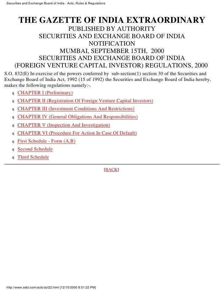 Venture capital in india sebi  foreign vc  investor regs 2000