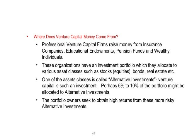 49 • Where Does Venture Capital Money Come From? • Professional Venture Capital Firms raise money from Insurance Companies...