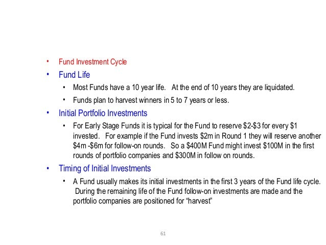 61 • Fund Investment Cycle • Fund Life • Most Funds have a 10 year life. At the end of 10 years they are liquidated. • Fun...