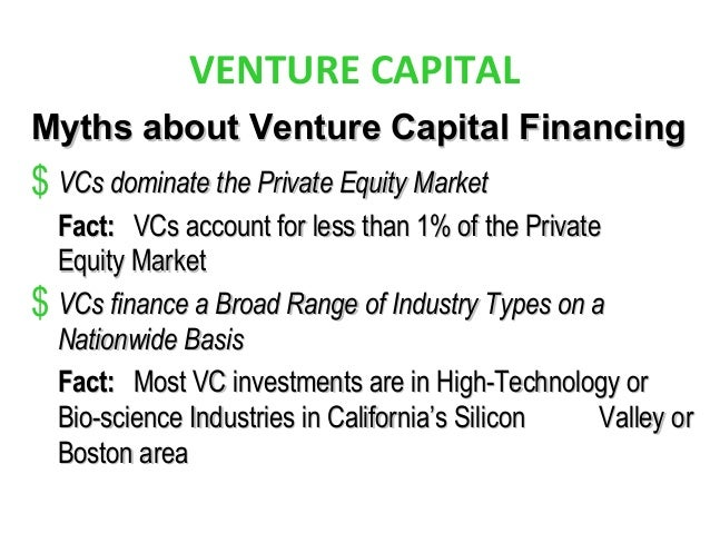 VENTURE CAPITAL Myths about Venture Capital FinancingMyths about Venture Capital Financing $ VCs dominate the Private Equi...