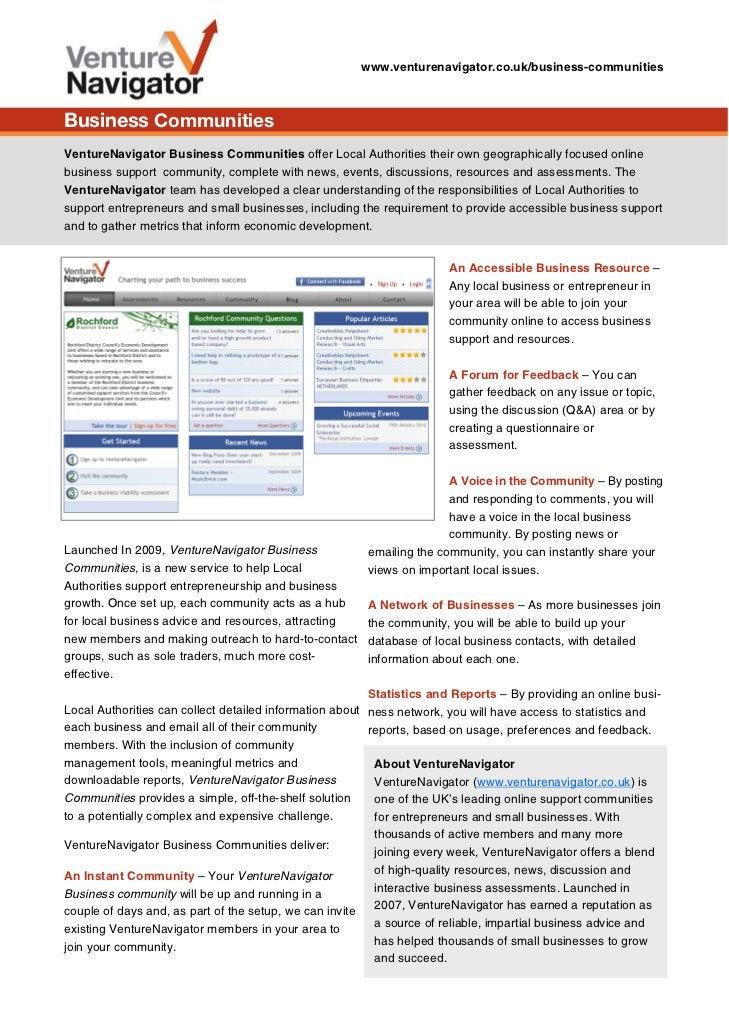 www.venturenavigator.co.uk/business-communitiesBusiness CommunitiesVentureNavigator Business Communities offer Local Autho...