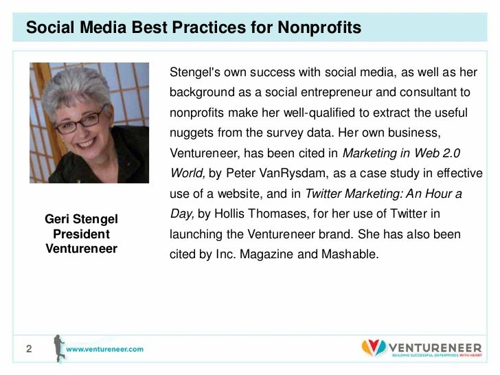 Ventureneer social media best practices for nonprofits-stengel Slide 2