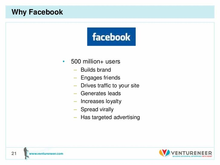 Why Facebook           • 500 million+ users               –   Builds brand               –   Engages friends              ...