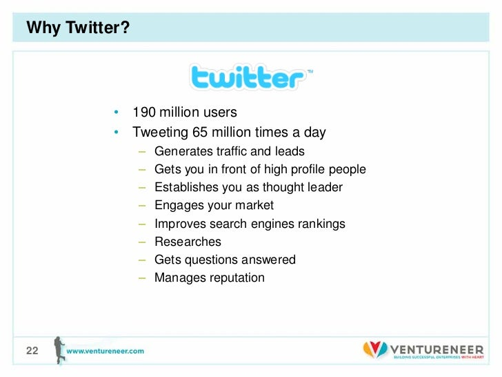 Why Twitter?          • 190 million users          • Tweeting 65 million times a day               –   Generates traffic a...