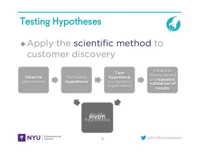 @NYUEntrepreneur Testing Hypotheses u Apply the scientific method to customer discovery 31 Observe phenomena Formulate hyp...