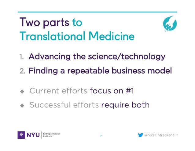 @NYUEntrepreneur Two parts to Translational Medicine 1.  Advancing the science/technology 2.  Finding a repeatable busines...