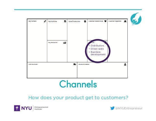 @NYUEntrepreneur Channels How does your product get to customers? • Distributors • Direct sales • Business development
