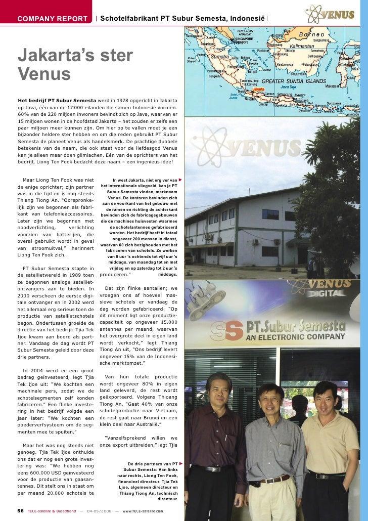 COMPANY REPORT                        Schotelfabrikant PT Subur Semesta, Indonesië     Jakarta's ster Venus Het bedrijf PT...