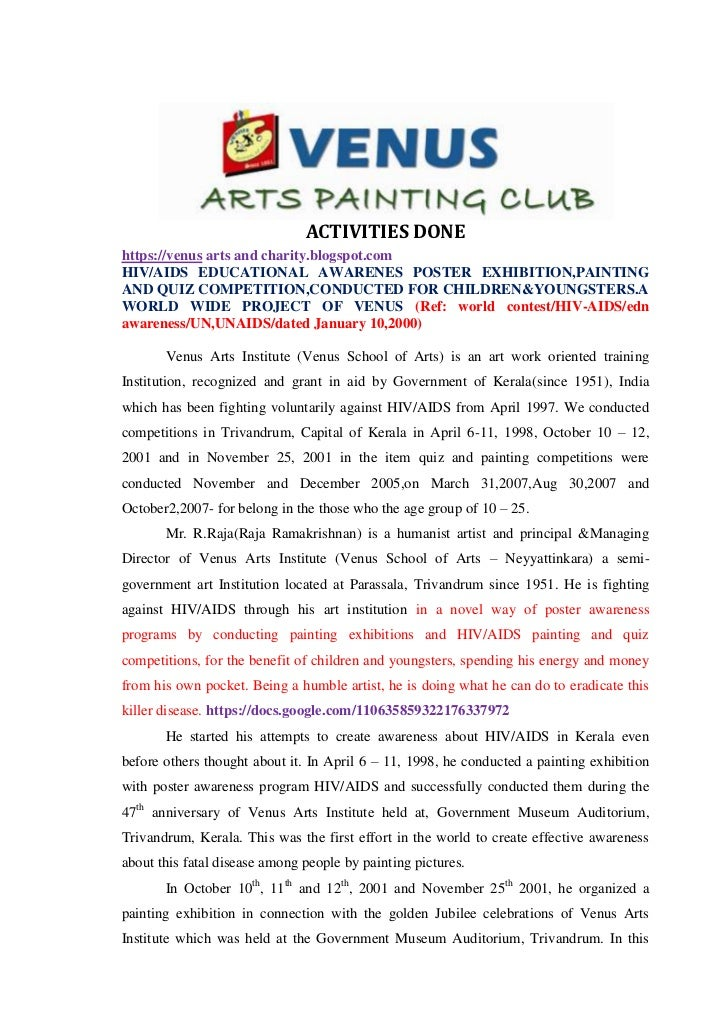 ACTIVITIES DONEhttps://venus arts and charity.blogspot.comHIV/AIDS EDUCATIONAL AWARENES POSTER EXHIBITION,PAINTINGAND QUIZ...