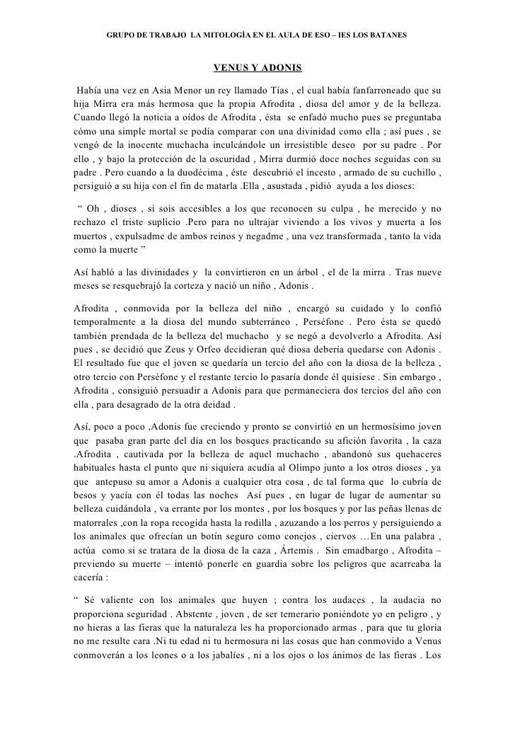 GRUPO DE TRABAJO LA MITOLOGÍA EN EL AULA DE ESO – IES LOS BATANES                                      VENUS Y ADONIS   Ha...