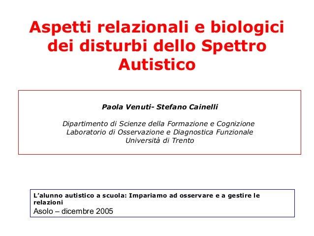 Paola Venuti- Stefano Cainelli Dipartimento di Scienze della Formazione e Cognizione Laboratorio di Osservazione e Diagnos...
