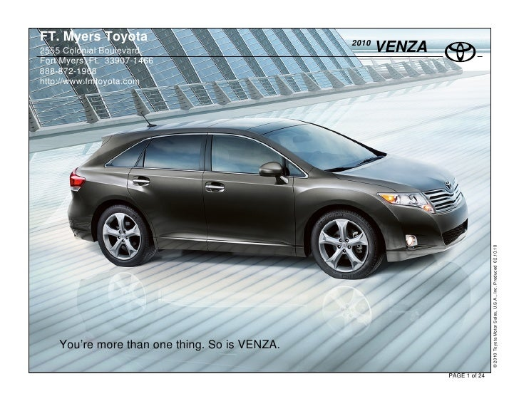 FT. Myers Toyota                               2010 2555 Colonial Boulevard                               VENZA Fort Myers...