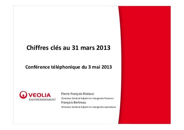 Chiffresclésau31mars2013Conférencetéléphoniquedu3mai2013Pierre‐FrançoisRiolacciDirecteurGénéralAdjointencha...