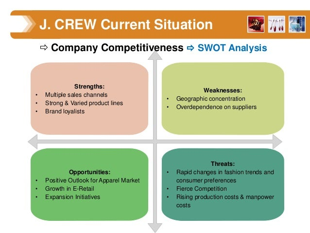 j crew swot analysis Question # 2 what does your strategic group map of the specialty retail industry look like is j crew well positioned why or why not question #3 – key success.