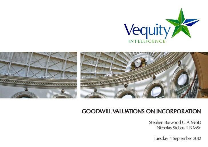 GOODWILL VALUATIONS ON INCORPORATION                    Stephen Burwood CTA MIoD                        Nicholas Stobbs LL...