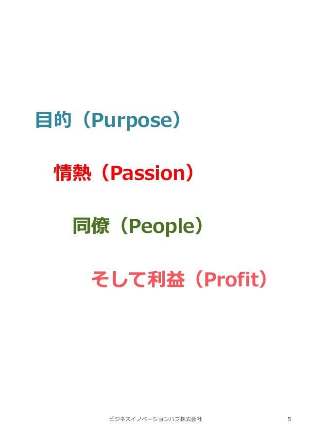 ビジネスイノベーションハブ株式会社 目的(Purpose) 情熱(Passion) 同僚(People) そして利益(Profit) 5