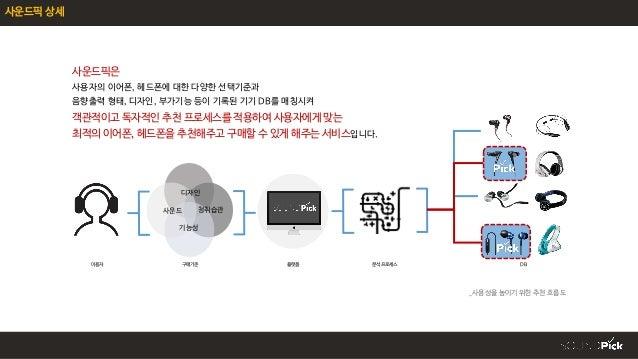 사운드픽 상세 사운드픽은 사용자의 이어폰, 헤드폰에 대한 다양한 선택기준과 음향출력 형태, 디자인, 부가기능 등이 기록된 기기 DB를 매칭시켜 객관적이고 독자적인 추천 프로세스를 적용하여 사용자에게 맞는 최적의 이어폰,...