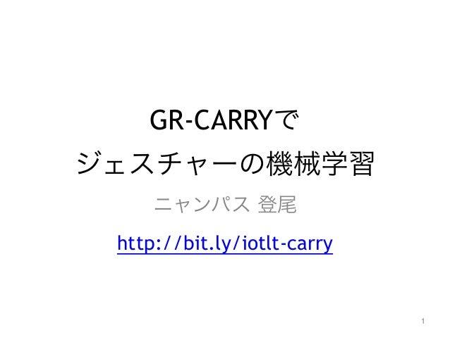 GR-CARRYで ジェスチャーの機械学習 ニャンパス 登尾 http://bit.ly/iotlt-carry 1