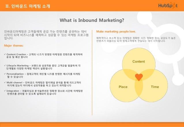 Ⅱ. 인바운드 마케팅 소개 The proven methodology for the digital age 인바운드 마케팅은 2006년 이후 온라인 비즈니스에서 가장 효율적인 마케팅 방법론이 되었습니다. 기존의 광고구매, ...