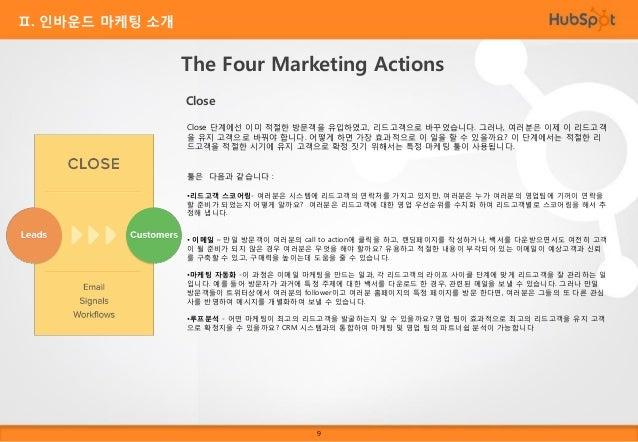 Ⅱ. 인바운드 마케팅 소개  The Four Marketing Actions Delight 인바운드 마케팅은 방문자, 리드고객, 또는 기존 고객이든 간에 사용자에게 컨텐츠를 제공하는 일련의 행동입니다. 누 군가가 이미 ...