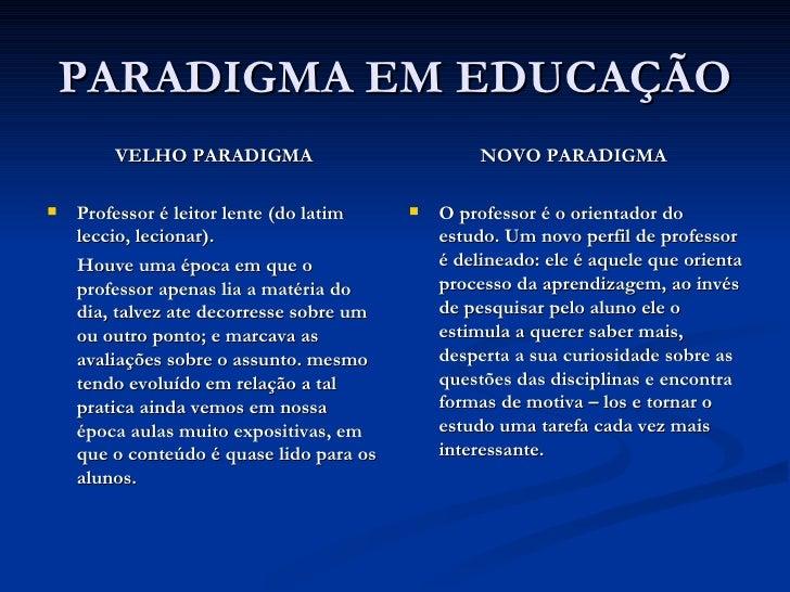 PARADIGMA EM EDUCAÇÃO <ul><li>VELHO PARADIGMA </li></ul><ul><li>Professor é leitor lente (do latim leccio, lecionar).  </l...
