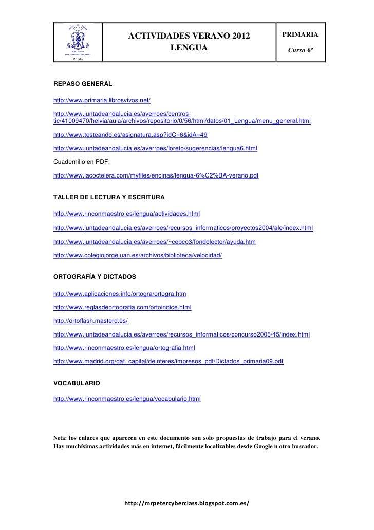 ACTIVIDADES VERANO 2012                             PRIMARIA                                       LENGUA                 ...
