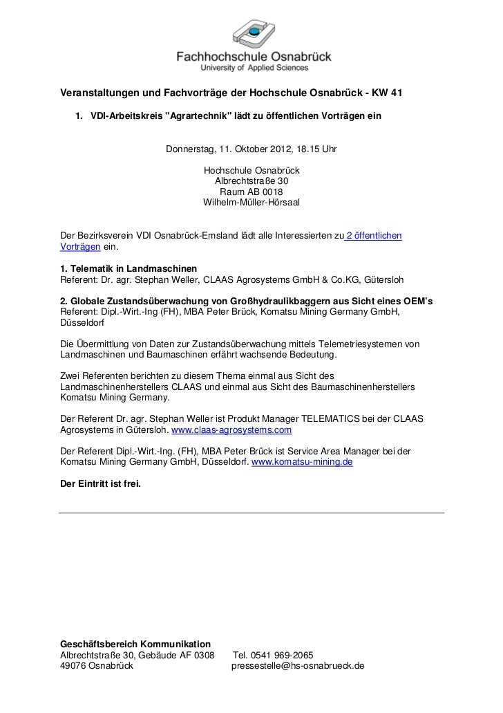 """Veranstaltungen und Fachvorträge der Hochschule Osnabrück - KW 41    1. VDI-Arbeitskreis """"Agrartechnik"""" lädt zu öffentlich..."""